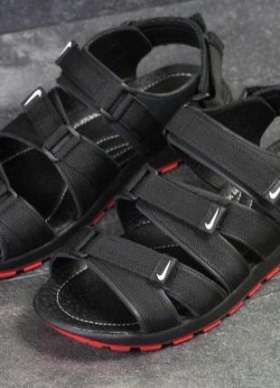 Мужские сандали nike 3 липучки, кожаные чёрные,босоножки