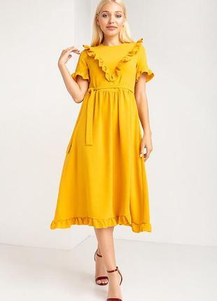 Платье миди в ретро-стиле с рюшами по низу и на декольте (разные расцветки)