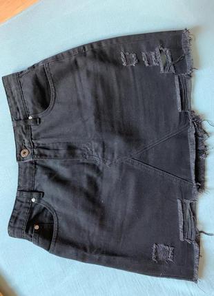 Чёрная джинсовая юбка cropp town xs размер