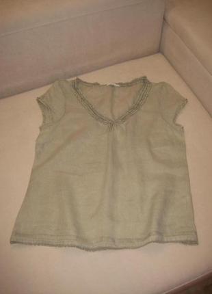 Блуза на лето,100% лён, цвет светлая оливка
