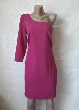 Фирменное f&f платье миди на одно плечё в сочном розовом цвете, размер л-ка