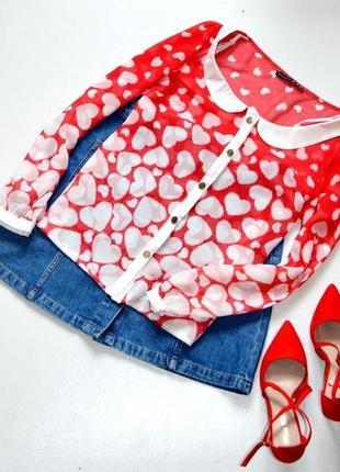Красивая блуза с сердечками
