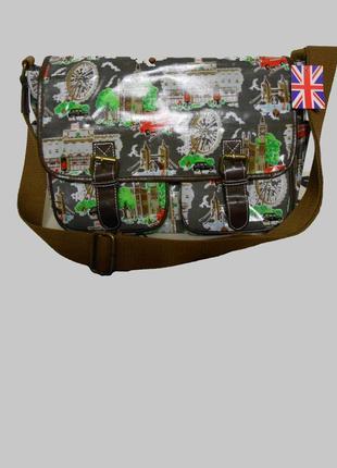 Вместительная сумка портфель из ламинированного хлопка принт сюжет лондон