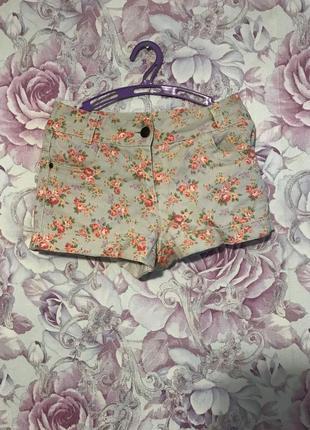 Джинсовые шорты в цветочный принт denim co размер xs-s