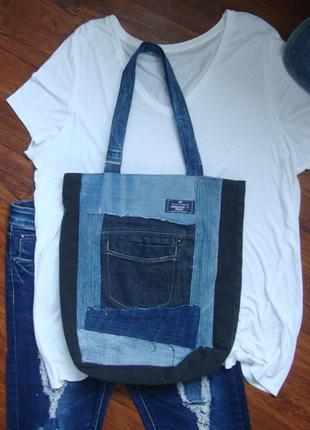 Джинсовая сумка торба сумка из разной джинсовой ткани