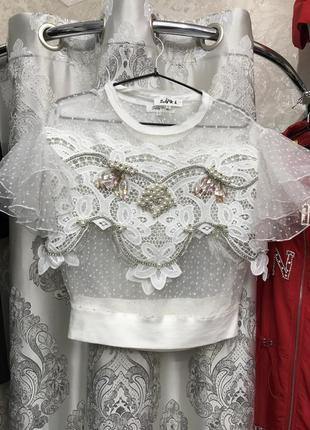 Белая блуза нарядная футболка блуза с камнями футболка сетка