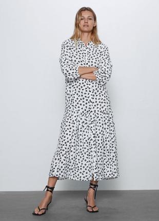 Летнее удлиненное свободное платье рубашка в цветочный принт вискоза zara