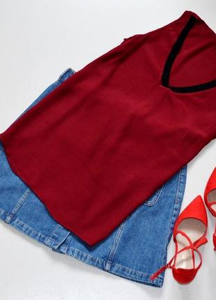 Стильный топ блуза винного цвета  в стиле спорт-шик