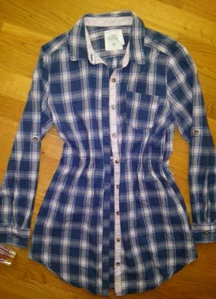 Хлопковое платье рубашка h&m размер с-м