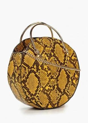 Круглая сумка манго змеиный принт