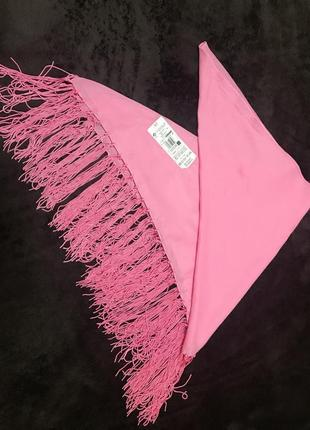 Парео розовый платок на купальник с бахромой котон marks & spencer