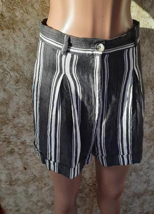 Практинные шорты с завышеной талией в актуальную полоску