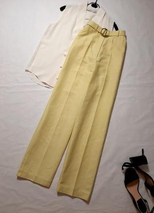 Крутые широкие брюки из льна с высокой посадкой, xs,s,