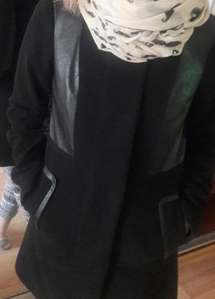 Пальто кашемир с кожаными вставками