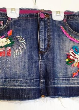 Яркая джинсовая юбка papaya.размер-12