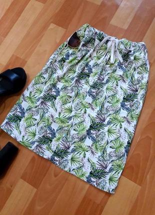Натуральная юбка миди в тропический принт от peacocks
