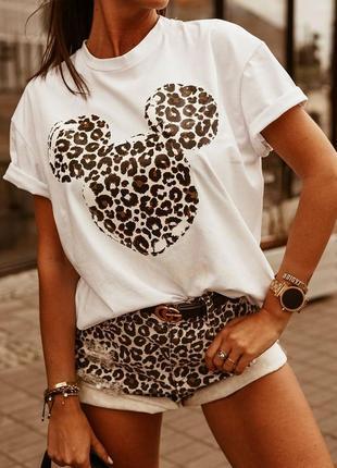 Белая футболка микки / леопардовый принт / супер цена