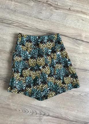 Стильні шорти з ананасами, модные шорты с ананасами, высокая посадка