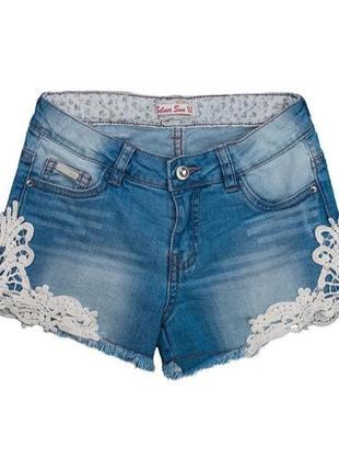 Шорты женские  джинсовые с нашивкой ажурные размер s m
