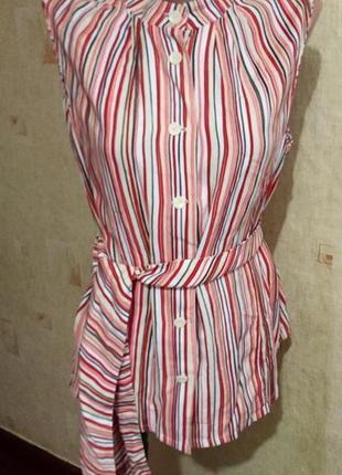Блуза безрукавка с поясом