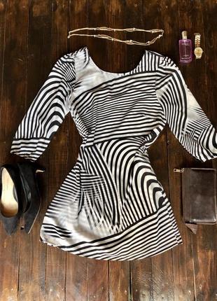 Платье рукав 3/4 нарядное легкое шифон принт зебра, s