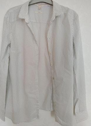 Белая блуза рубашка в черную крапинку