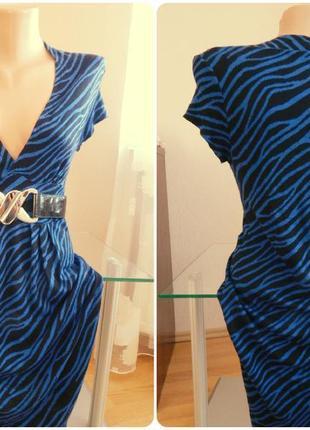 Платье сине черное с поясом