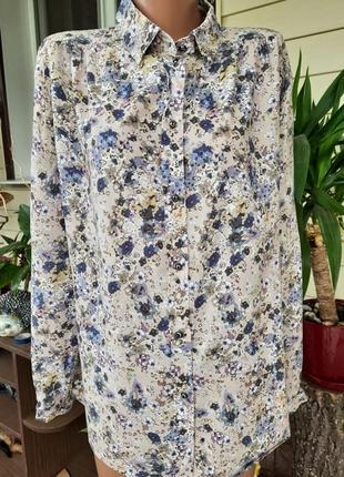 Легкая рубашка в цветочный принт 100% вискоза