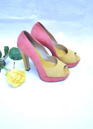 Босоножки туфли с открытым пальчиком на устойчивом каблуке