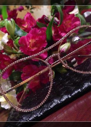Очки в камнях золото солнцезащитные имидж шанель chanel