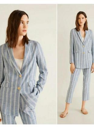 Трендовый льняной пиджак, блейзер от mango xs, s, m
