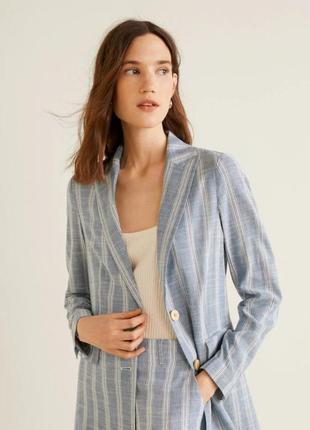 Трендовый льняной пиджак, блейзер от mango xs, s, m2 фото