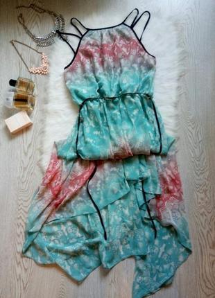 Асимметричное разноцветное длинное короткое платье в пол бретелями принт рисунок сарафан