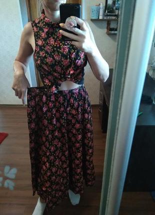 Качественный костюм топ+ миди юбка в цветочный принт-sm