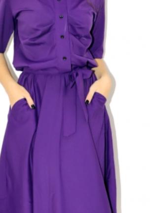 Абалденное миди с поясом рукавом клешная юбка платье на пуговицах- m