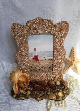 Фоторамка дары моря натуральные камни ракушки краб рак морская ручная работа