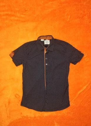 Стильная рубашка с коротким рукавом и с принтом на мальчика 7-9 лет