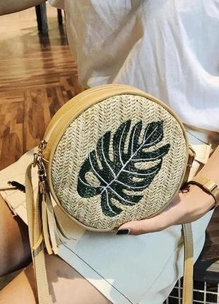 Модная женская круглая соломенная сумочка/сумка через плечо.