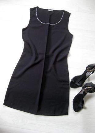 Базовое элегантное платье noisy may прямое шифт чёрное с бисером нарядное коктейльное