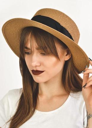 Шляпа соломенная канотье летняя от солнца