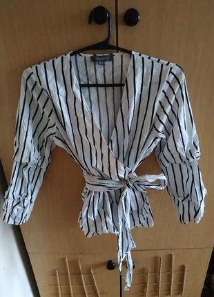 Рубашка на запах блузка в полоску тельняшка с пышными рукавами буфами