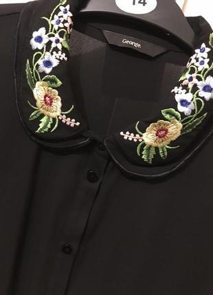 Рубашка блузка george с вышивкой на воротнике