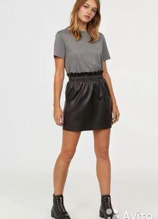 Трендовая черная кожаная юбка с высокой посадкой а-силуэта с поясом от zara s\m