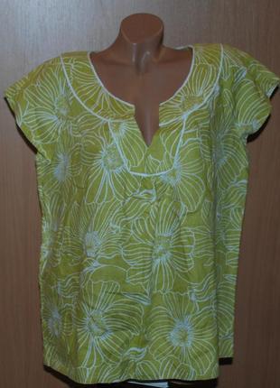 Блуза принтованая /100% лен / бренда laura ashley