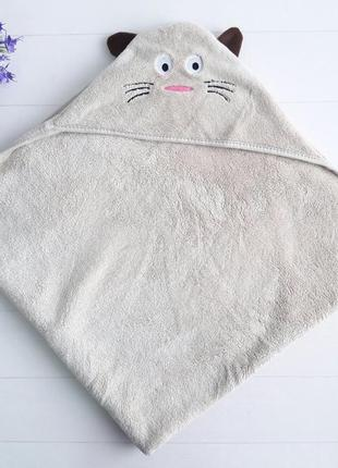 Детское полотенце уголок кот с ушками и усами