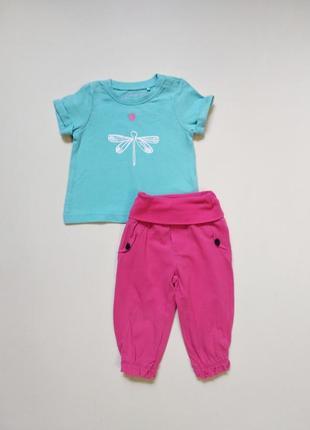 Милый комплект футболка + штанишки малышке 0-3