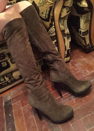 Замшевые сапоги на меху на высоком каблуке