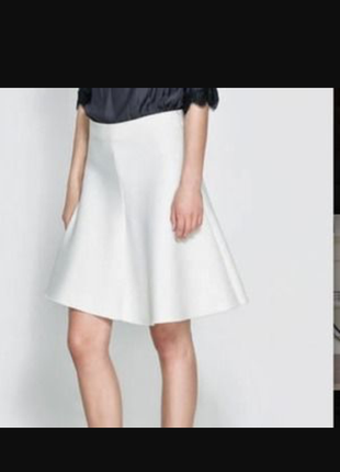 Zara оригинал дайвинг ткань белая юбка миди