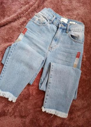 Крутые джинсы с бахромой (р. 38/10) 1+1=3 ♥