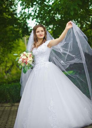 Свадебное платье белое свадебное платье из фатина кружево вышивка ручной работы